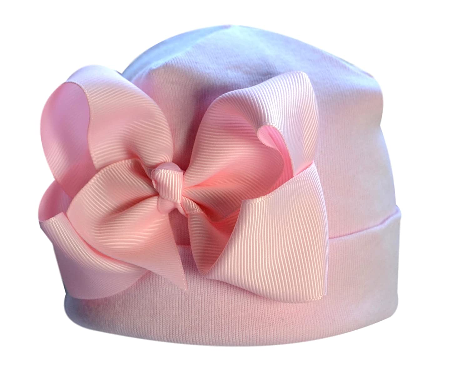 Funny Girl Designs Baby Girls Newborn Hospital Hat featuring Pink Grosgrain Bow by