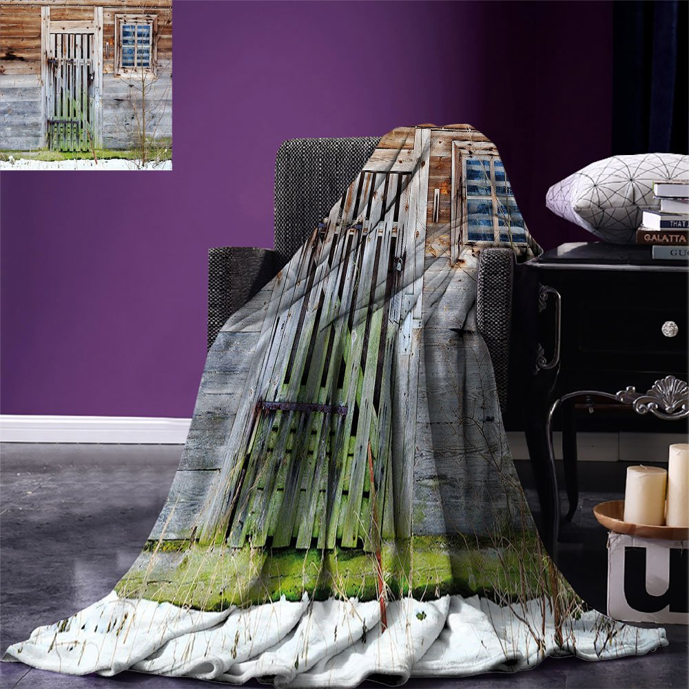 smallbeefly Primitive Country Decor Digital Printing Blanket Neglected Old Farmhouse Rustic Wooden Door and Window Rural Summer Quilt Comforter Brown Green Silver