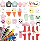 Mochi Squishies Toys,59Pcs Include 10 Mochi Squishies Toys,10 Slow Rising Toys,34 Slap Bracelets,5 Vocal Animal Toy,Stress Reliever Anxiety Toys,Party Favors,Gift Set for Kids by Zoneyee