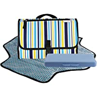 Dete Foldable Waterproof Baby Diaper Changing Mat Portable Changing Pad for Travel Kit and Wipes Case (Stripes)