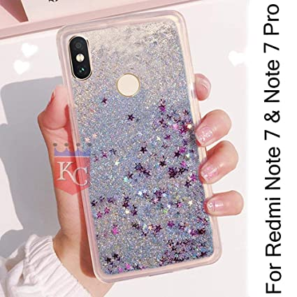 KC Dynamic Flowing Liquid Glitter Floating Stars Fantasy Shiny Quicksand  Transparent Silicone Back Cover for Mi Redmi Note 7 & Redmi Note 7 Pro