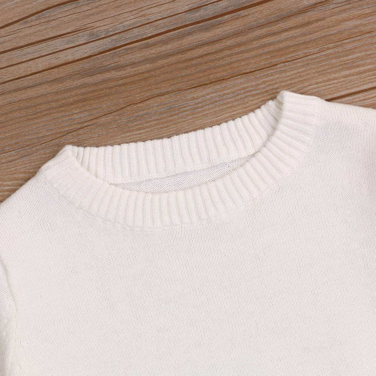 Baby Boys Girl Cotton Pullover Sweater Tops Kids Fall Winter Knit Sweater Solid Color Outfit 1-5T