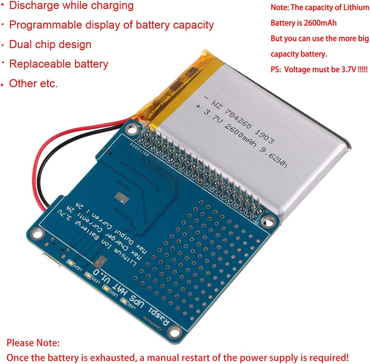 Raspberry Pi3 3700mAh LithiumBattery Power Supply Expansion Board RPI Powerpack