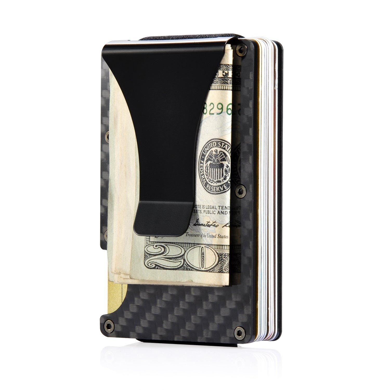 Aluminum Metal Wallet Front Pocket Minimalist Wallet & Money Clip Slim Wallet RFID Blocking (Carbon Fiber)