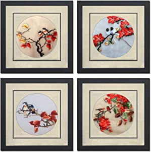 Ozlvii Silk Art Pure Handmade Embroidery Love Birds Mixed Group on Red Tree Flower Framed Painting Anniversary Wedding Present Asian Wall Art Decor Tapestry Hanging 41021WF & 41022WF & 41023WF & 41024WF
