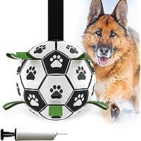Pelota de fútbol para perros, juguetes interactivos para perros grandes y medianos con pestañas de agarre, juguete de…