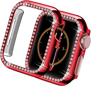 Yolovie Compatible for Apple Watch Case 44mm SE Series 6 5 4 iWatch Bling Face Cover Crystal Diamonds Shiny Rhinestone Bumper, PC Protective Frame for Women Girl (Red-Diamond, 44mm)