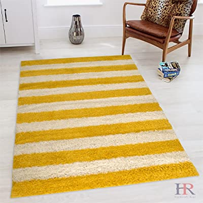 HR SHAGGY STRIPED CONTEMPORARY MODERN AND SOFT PLUSH AREA RUG (5 feet by 7 feet, Yellow and white)