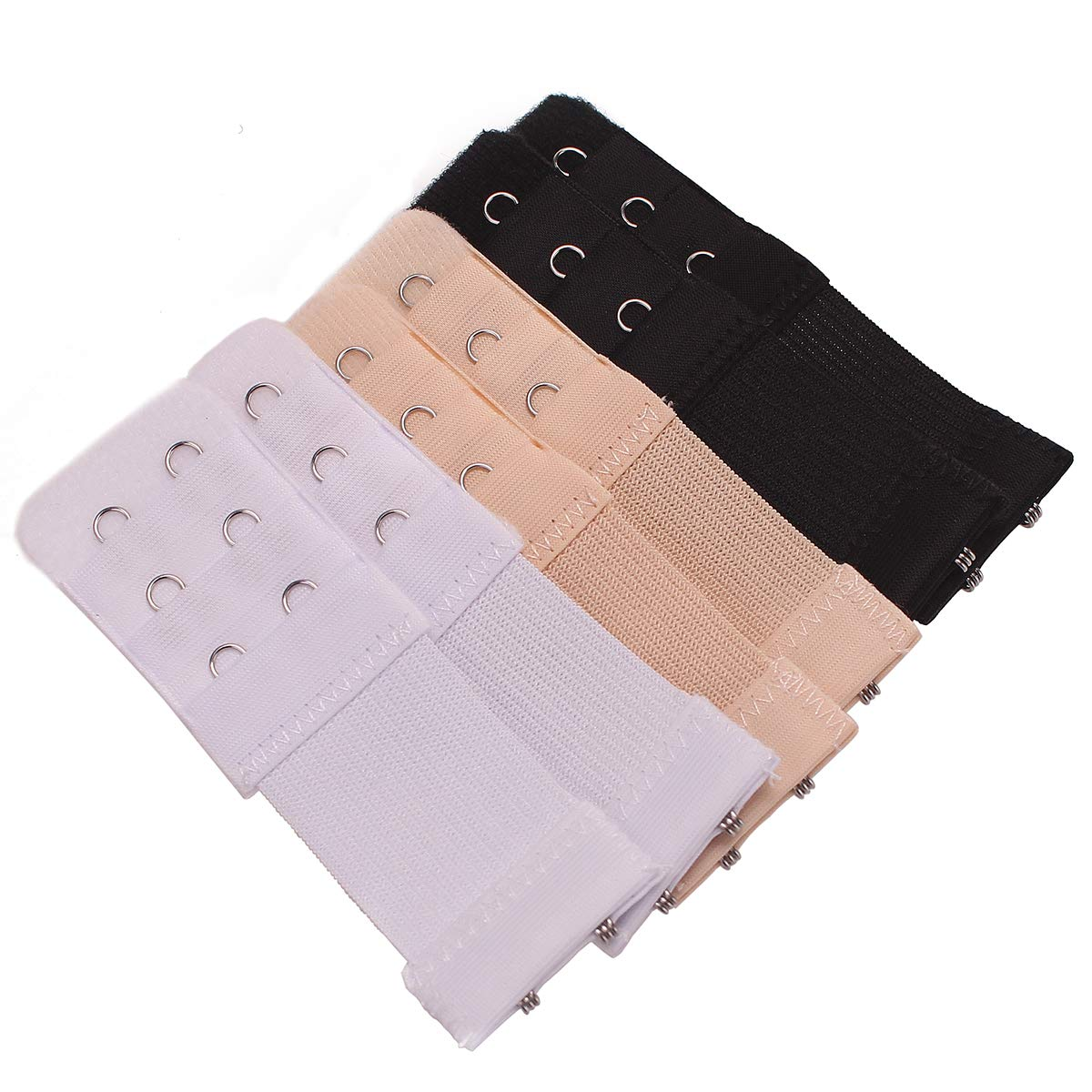 AKRover 6 Pieces Womens Soft Comfortable Elastic Bra Extenders Bra Extension Strap 2 Hook 3 Row Lady/'s Bra Extender Bra Band Skin Color