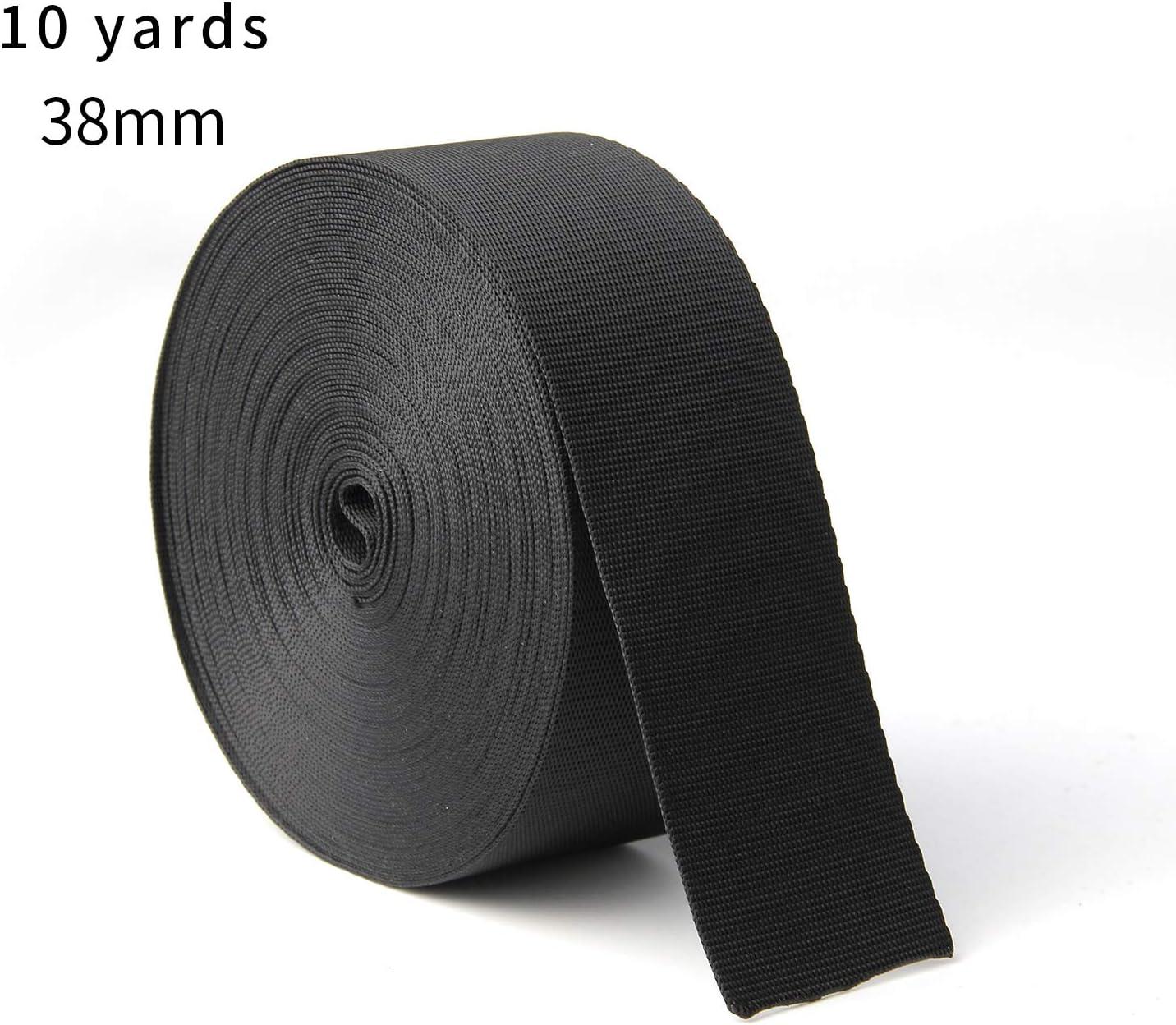 JIAKAI 1.5 Inch Wide 10 Yards Nylon Heavy Duty Webbing Strap,Polypropylene Heavy Straps for Bags, Hammocks, Outdoor Climbing and DIY Making Luggage Strap, Pet Collar, Backpack Repairing(Black)