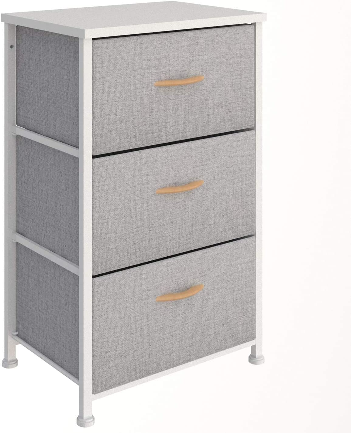 Vogga Dresser with 3 Drawers, Fabric Dresser Storage Tower, Dressers for Bedroom, Living Room, Hallway, Closets & Nursery (3 Drawer, Grey) with Sturdy Steel Frame, Wood Top, Easy Pull Handle