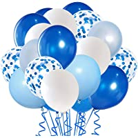 Royal Blue Confetti Latex Balloons, 50pcs 12 inch Light Blue Baby Blue and White Party Balloons for Birthday Wedding…