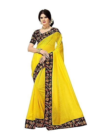 dcaeedf4bcdf3b Shailaja Sarees Women s Chanderi Cotton Kalamkari Printed Border Saree with Blouse  Piece (Yellow)  Amazon.in  Clothing   Accessories