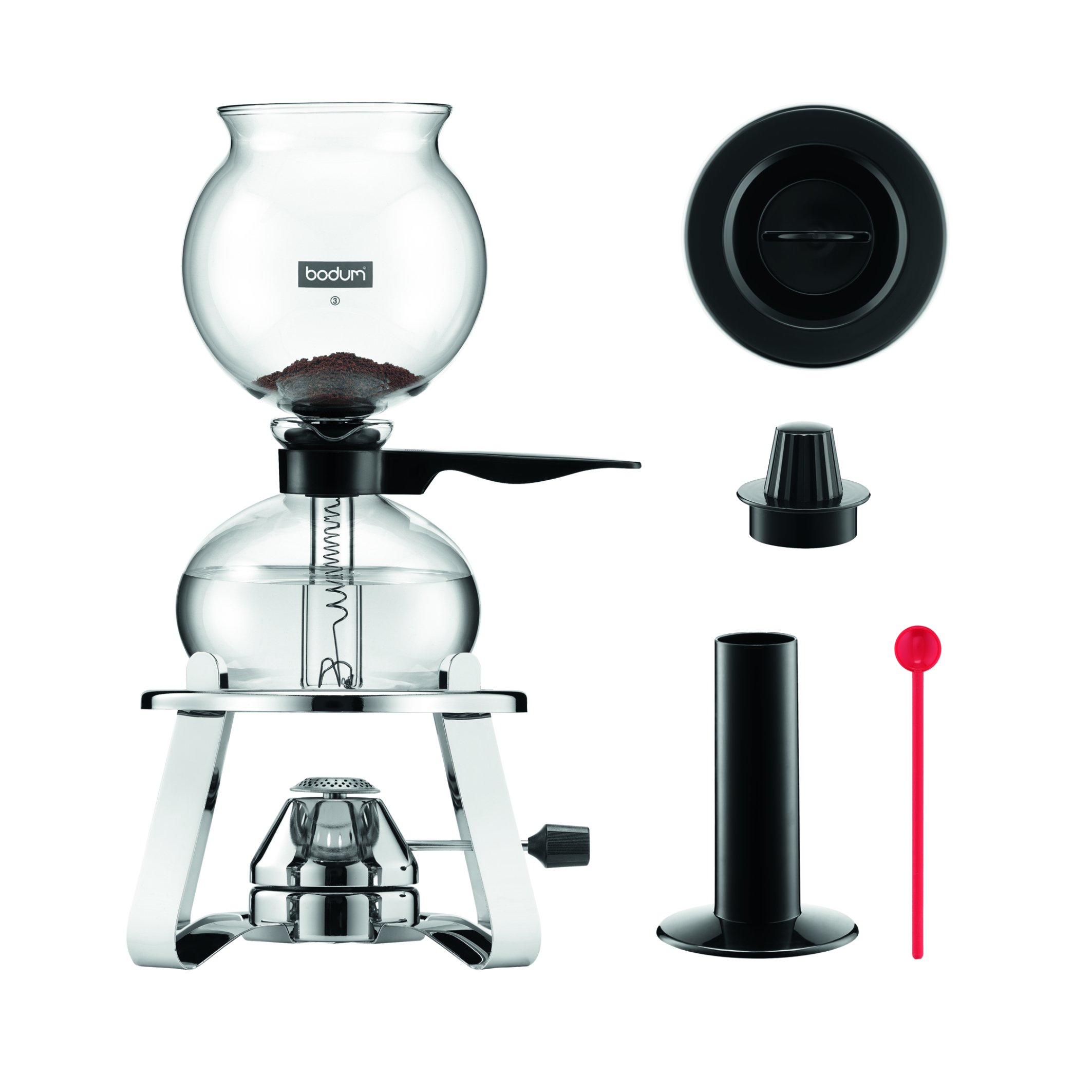 Bodum K1218-16 Pebo Vacuum Coffee Maker with Burner & Accessories, Black, 34 oz by Bodum