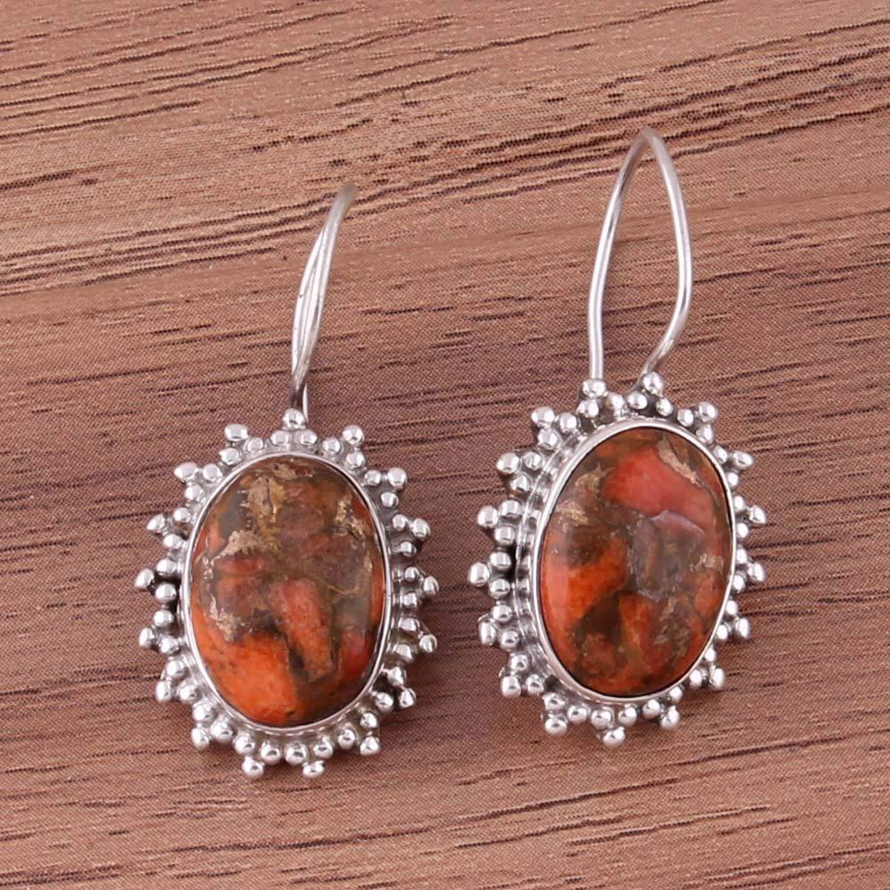 Pendientes de plata esterlina para regalo de verano, pendientes de gota, pendientes ovalados de turquesa naranja, pendientes colgantes Plata Aretes, Sterling Silver Earrings for Women