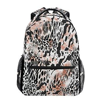 37813be2681e Amazon.com : Leopard Pattern Print Animal Backpack Waterproof School ...