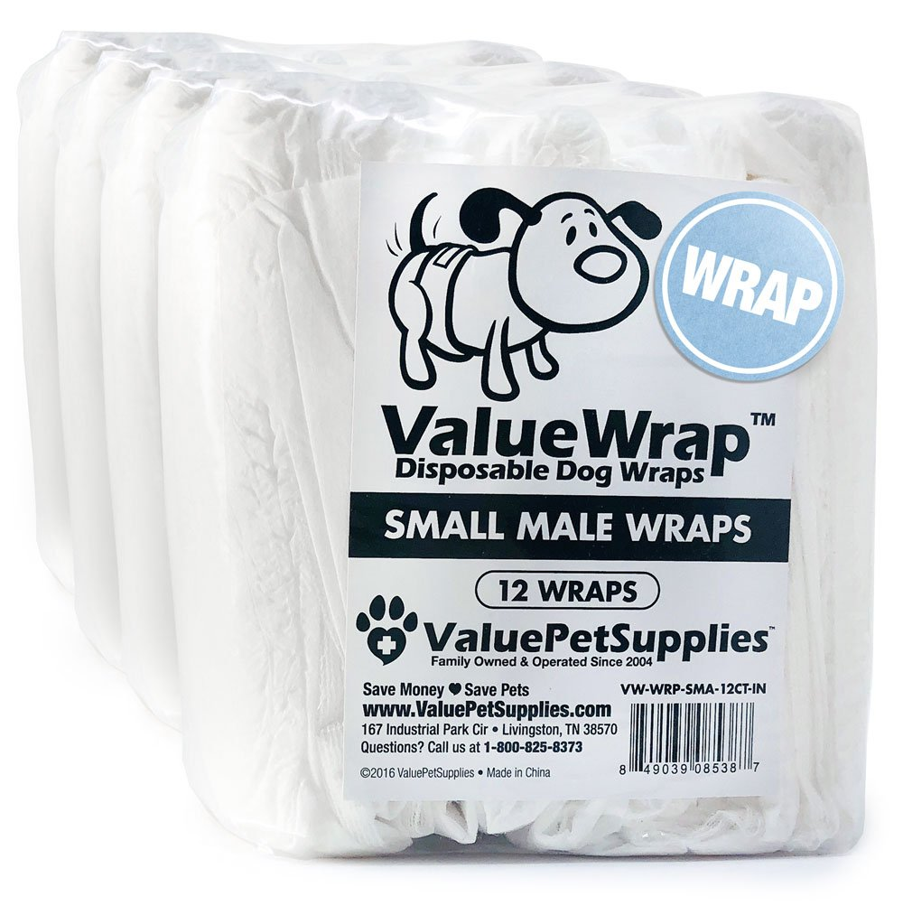 ValueWrap Male Wraps for Dogs, 2-Tab Small, 48 Count