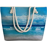 Sleepwish Extra Large Womens Canvas Beach Tote Bag with Top Zipper Closure and Waterproof, Spacious Summer Handbag with…