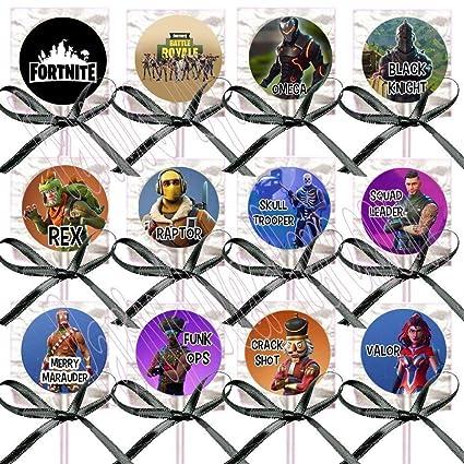 DJz Dealz Battle Royal Lollipops Video Game Fortnit Truck Party Favors Supplies Decorations Lollipops with Black Ribbon Bows Party Favors -12 pcs, ...