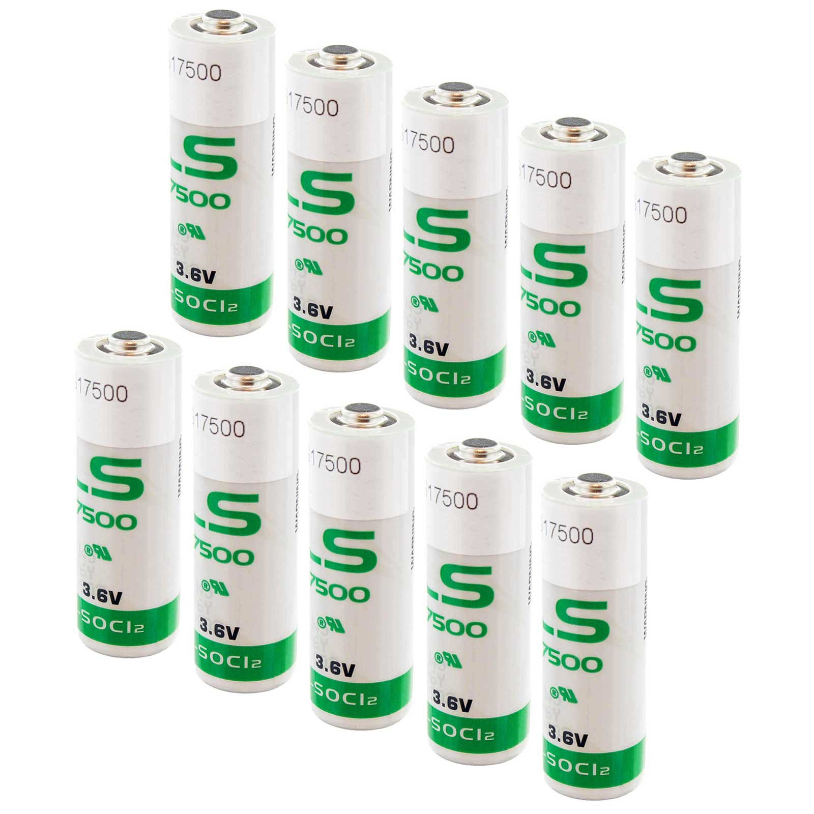 10x SAFT LS17500 Size A 3.6V 3600mAh Lithium Battery for Emergency Backup, Data Collection, AMR Add-ons, Smoke Alarms, Carbon Monoxide Detectors, Intrusion Sensors, Fleet Monitoring by Exell Battery