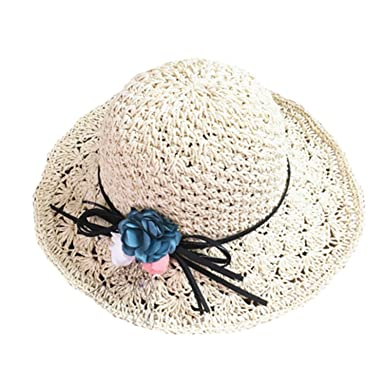 Image Unavailable. Image not available for. Color  Eric Hug hat Women  Elegant Straw Hats Flower Wide Brim Casual Summer Hats Foldable ... 964378b09e2d