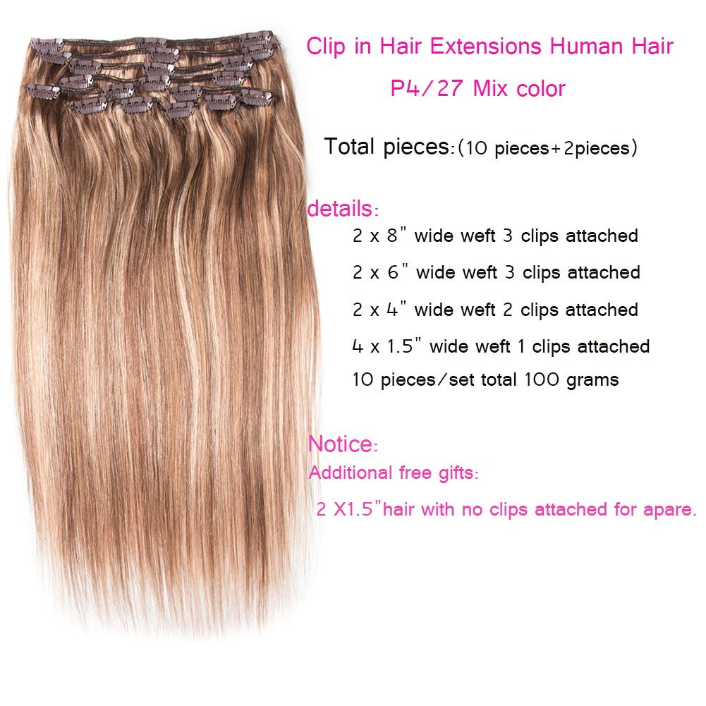 Amazon Recool 22 Inch Clip In Hair Extensions Human Hair Silky