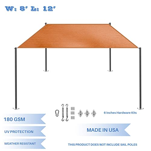 E K Sunrise 8 x 12 Orange Rectangle Sun Shade Sail with Stainless Steel Hardware Kit Outdoor Shade Cloth UV Block Fabric,Straight Edge-Customized