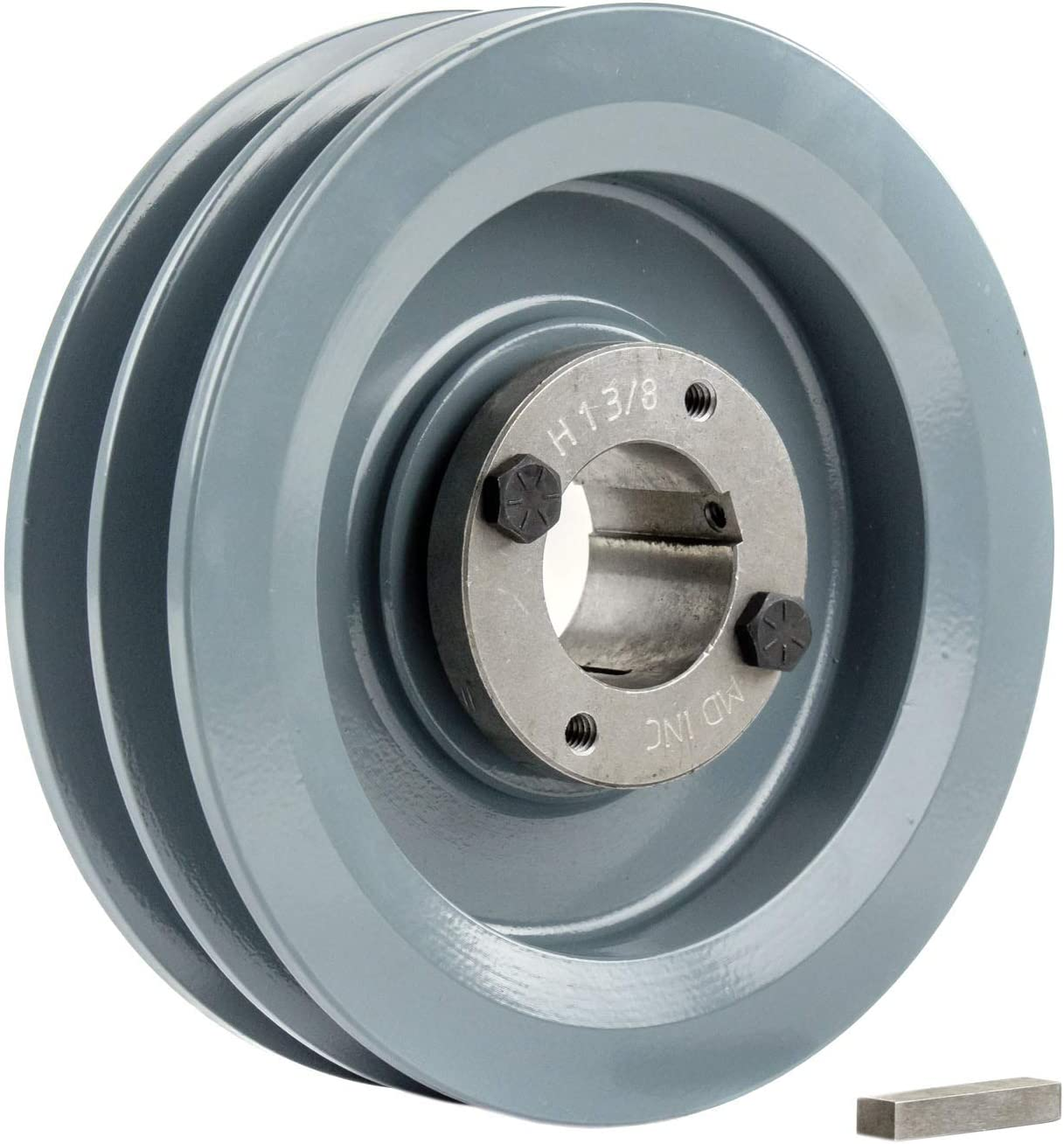 Cast Iron 5.75 2 Groove Dual Belt B Section 5L Pulley with 1-3//8 Sheave Bushing