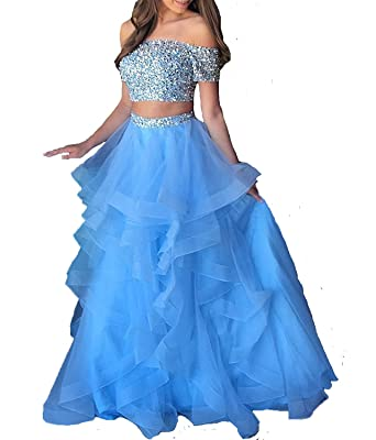 Dressytailor Womens Two Piece Floor Length Organza Prom Dress Beaded Evening Gown