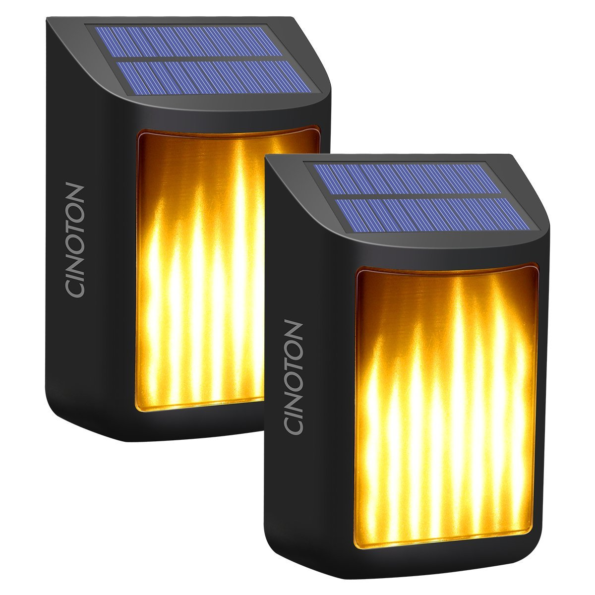 CINOTON Solar Wall Lights, Waterproof Flickering Flame Lights Dark Sensor Step Deck Lamps Wall Mounted Night Lights Dusk to Dawn Landscape Lighting Outdoor Garden Driveway Pathway Stairs Fence(2)