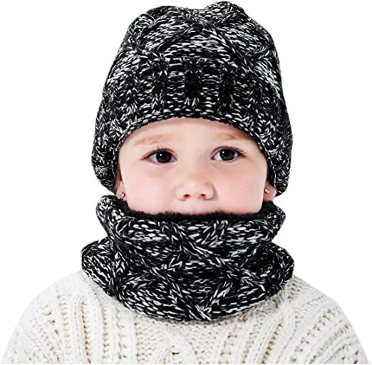 2PCS Toddler Baby Beanie Earflaps Knit Hat Scarf Soft Warm Fleece Lining Cap with Circle Loop Scarf Neckwarmer For Girls Boys