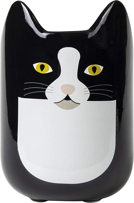 el & groove 3D Taza para Gatos en Negro, Taza de té de 350 ml (400 ml hasta el Borde) de Porcelana, Taza de café, Taza para Gatos, Taza Decorativa, Idea para