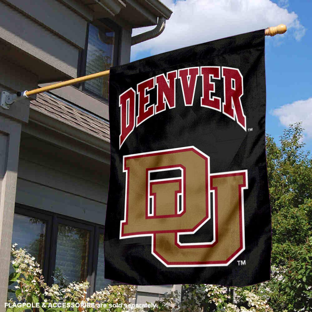 College Flags and Banners Co University of Denver Black Double Sided House Flag