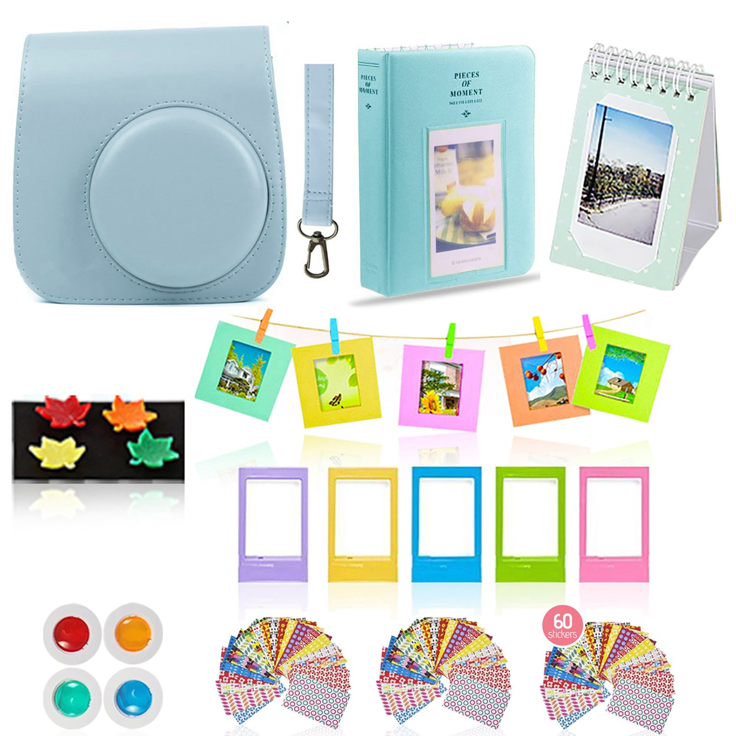 Fujifilm Instax Mini 26 Camera Accessories Bundle, 10 Piece Kit Includes: Mini 26 Case + Strap, 2 Photo Albums, 4 Color Lenses , Hanging + Photo Frames, Fridge Photo Magnets, 60 Stickers + Gift Set by Shutter