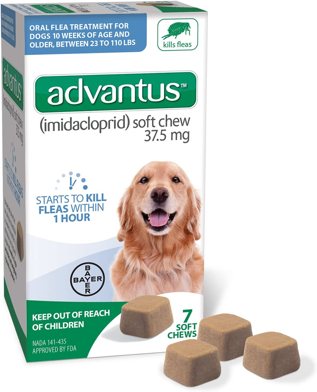 Amazon Com Bayer Animal Health Advantus Imidacloprid Oral Dog Flea Treatment Soft Flea Chews For Dogs 23 110 Lbs 7 Doses Pet Supplies