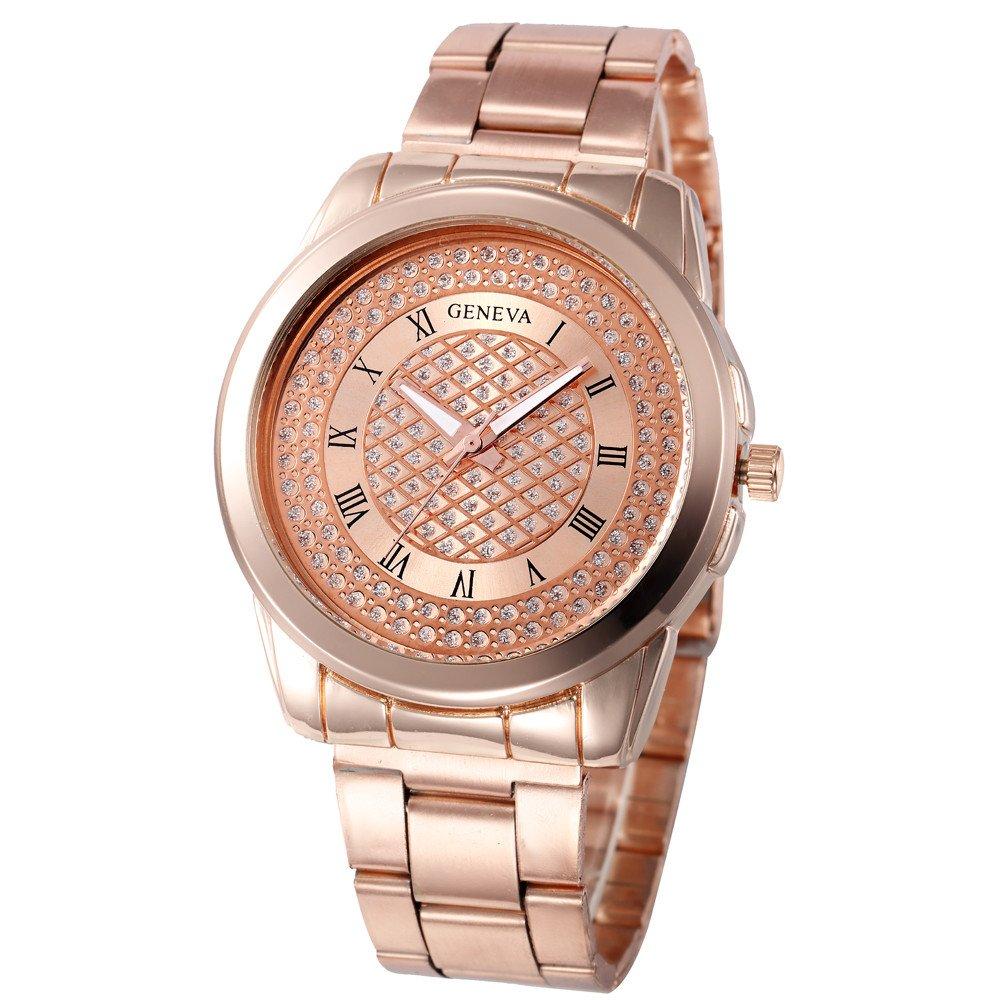 腕時計、女性用腕時計、ステンレススチールスポーツアナログ合金クォーツ腕時計レトロ絶妙な高級クラシックブレスレットカジュアルビジネスWatches for Ladies Teen Girls ローズゴールド B07DJ6T538 ローズゴールド ローズゴールド -