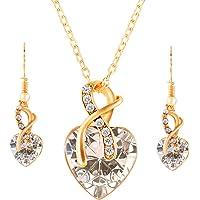 MOTINA Set de Corazón Joyería Collar con Colgantes Aretes Mujer Collar Colgante de Diamantes Dorados Conjuntos de joyería clásicos Cubic Zirconia Collar y Aretes Corazón