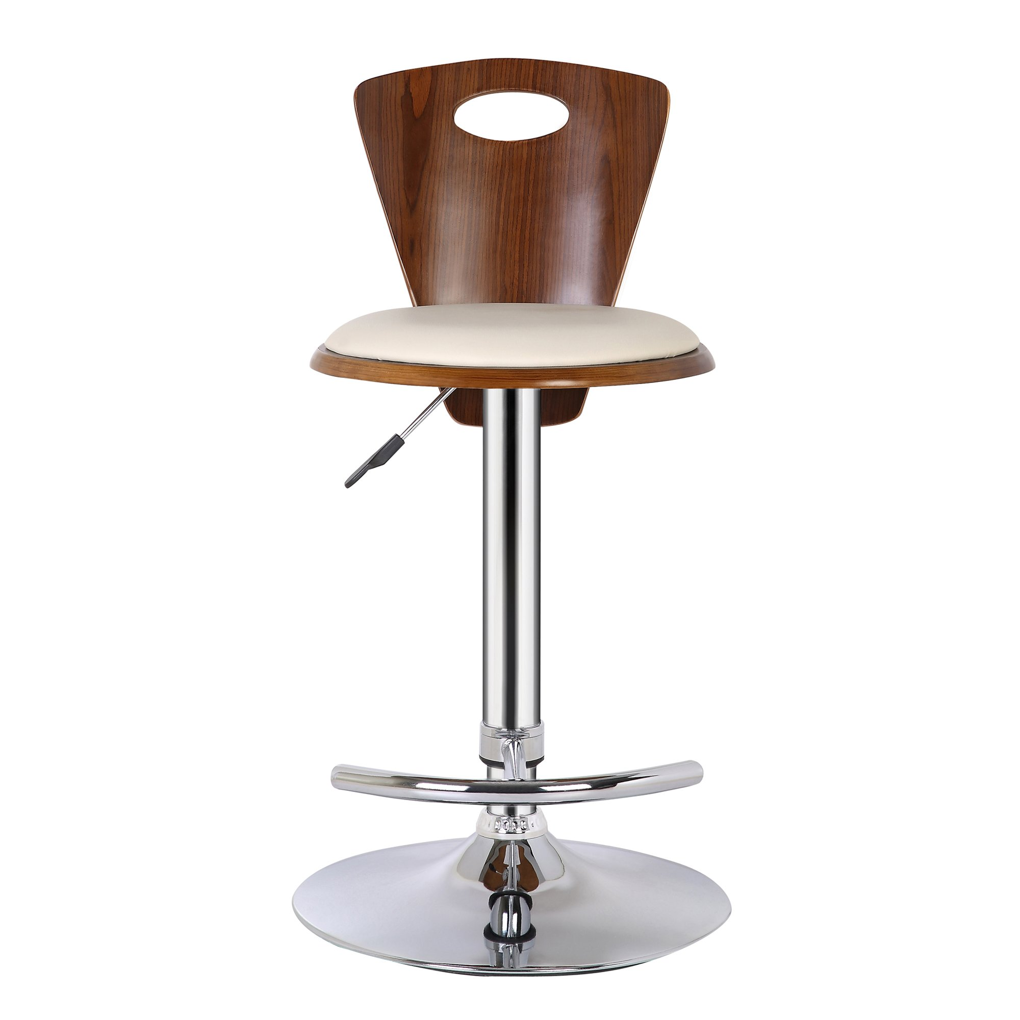 Armen Living LCSEBACRWA Seattle Barstool in Cream Faux Leather, Walnut Wood and Chrome Finish by Armen Living (Image #4)