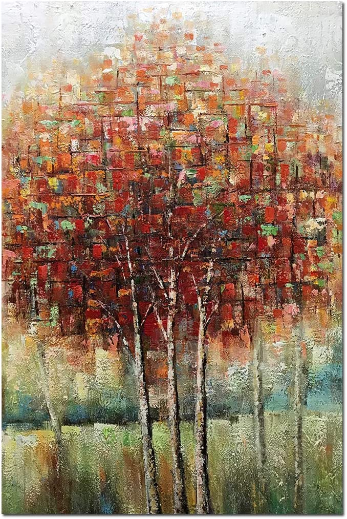 Boiee Art,24x36Inch Hand-Painted Red Birch Trees Vertical Oil Paintings Fall Landscape Artwork Abstract Autumn Tree Canvas Painting Modern Home Decor Art Wood Inside Hanging Wall Decoration Oil Hand Painting