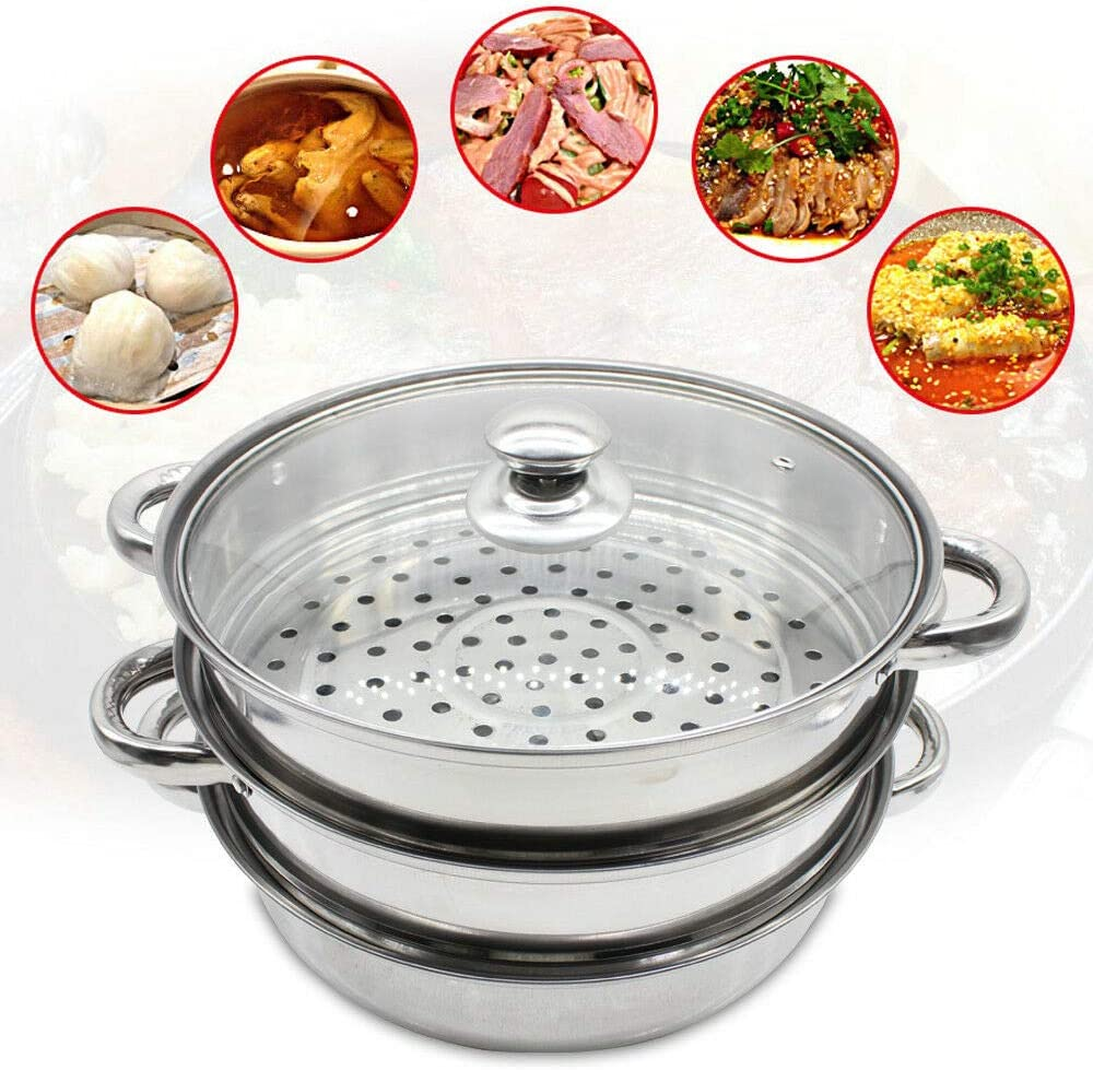 CNCEST 3 Tier Steamer Set Stainless Steel Cooker Pot Glass Lid Kitchen Cookware 28CM