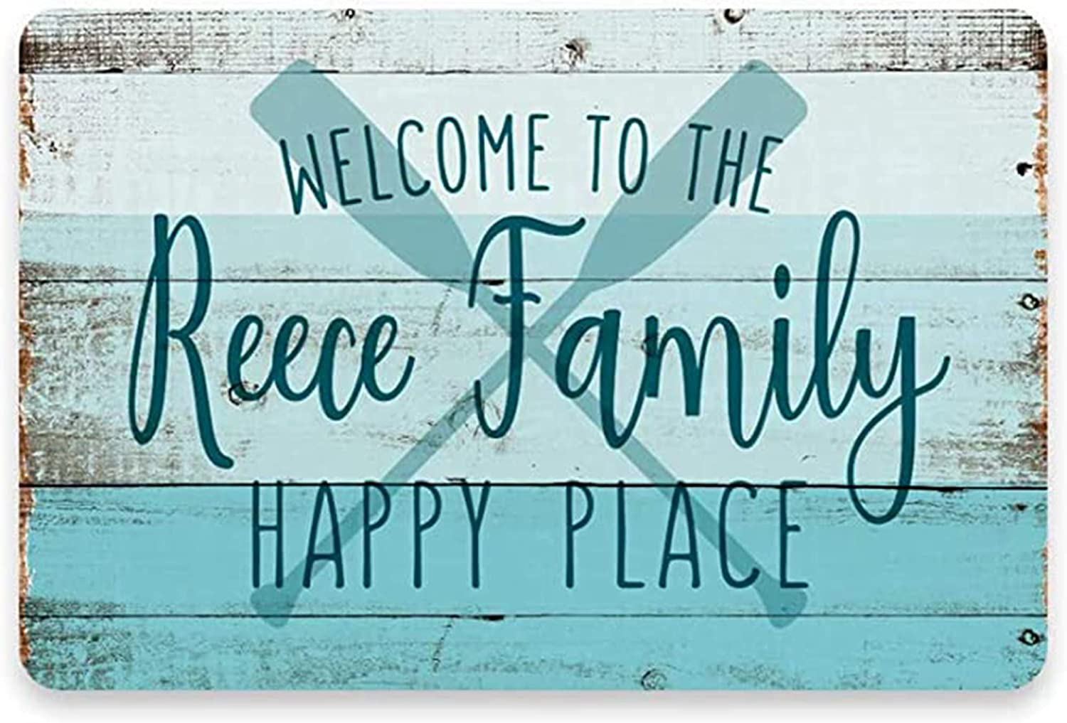 Auwozc Personalized Beach House Sign - Welcome to The Happy Place Durable Customized Family Name Wall Decor Metal meatl Sign -Use Indoor/Outdoor - Decor for Resort and Beach House