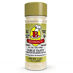 Benson's - Table Tasty Salt Substitute - No Potassium Chloride Salt Substitute - No Bitter After Taste - Good Flavor - No Sodium Salt Alternative - New Size 3 oz Bottle With Shaker Top