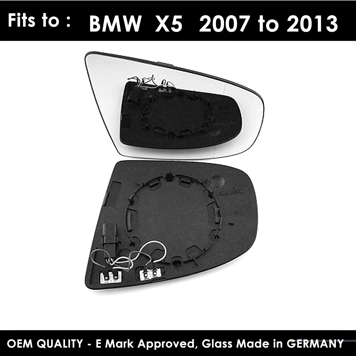 TWMC-XS 2007 to 2013 Heated Driver Side Door Wing Mirror Glass Including Base Plate RH
