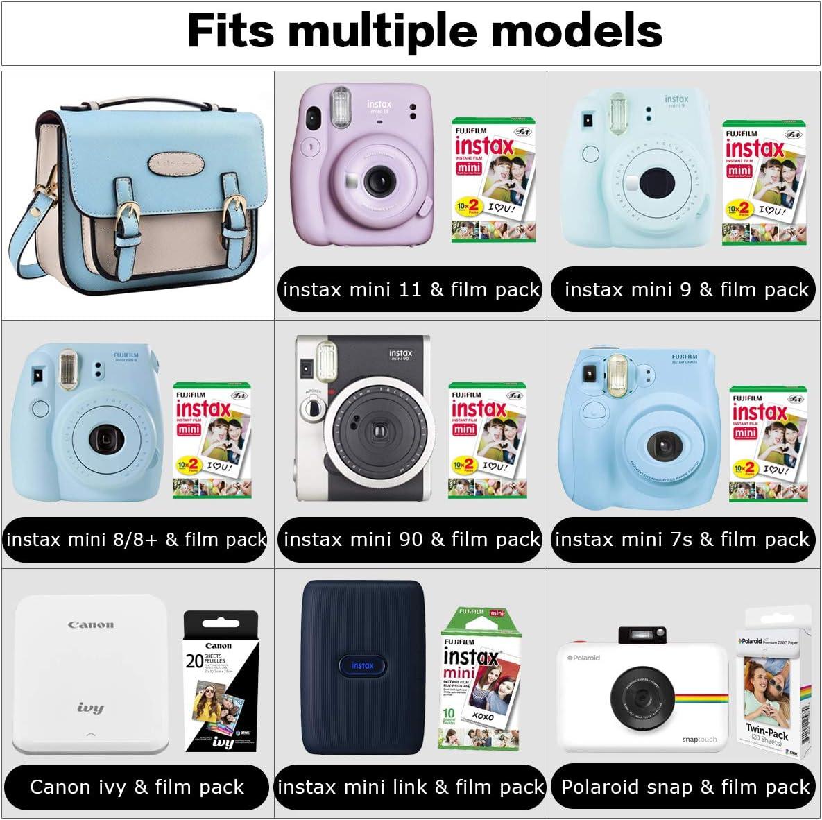 Fujifilm Mini 8 9 Funda de accesorios de la cámara para FUJIFILM Instax Mini 8/Mini 7S/Mini 25/Mini de piel sintética Lalonovo, diseño retro 50s – Funda para Fujifilm Cámara de fotos instantánea