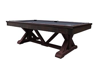 Playcraft Brazos River 8u0027 Slate Pool Table, Weatheed Brown