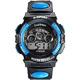 Lancardo Reloj Digital de Cuarzo Multifunciones de Cronógrafo Alarma Calendario Pulsera Electrónica con Dial Notilucente para Actividad Deportes Exteriores para Chicos Adolescentes (Azul)