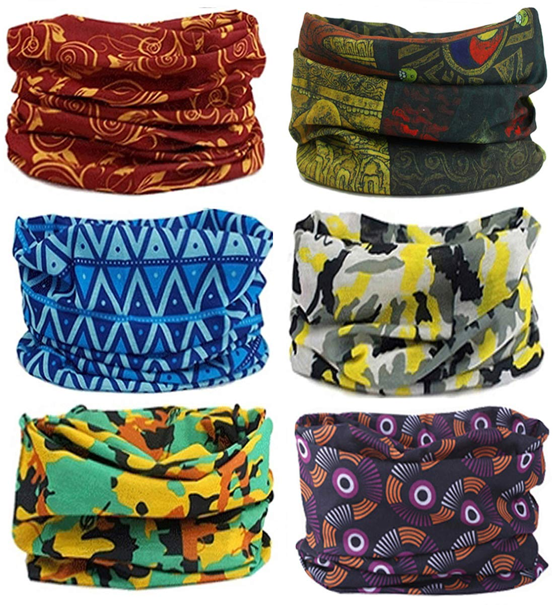 SmilerSmile 6pcs Assorted Seamless Outdoor Sport Bandanna Headwrap Scarf Wrap, 12 in 2 High Elastic Magic Headband & Collars Muffler Scarf Face Mask UV Resistance(31 Print1)