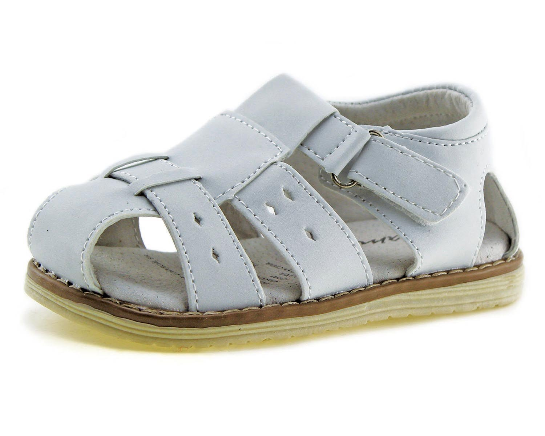 Jabasic Kids Summer Outdoor Boys Girls Closed-Toe Strap Sandals (Toddler/Little Kid (5.5 M US Toddler, White-1)