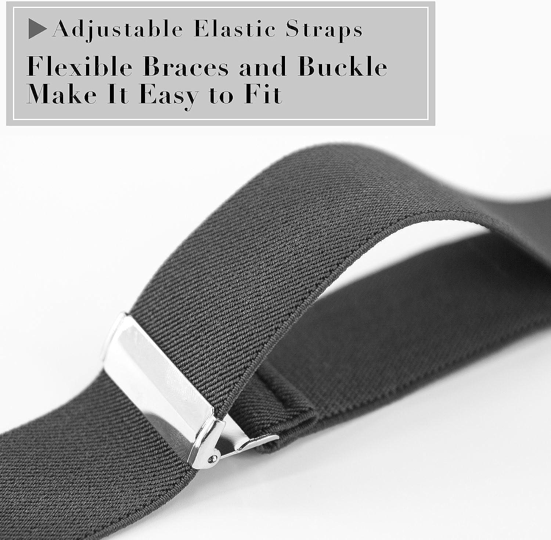 1 anno di garanzia TB1 Uomo Bretelle Resistente resistente 35MM Bretelle per uomo 6 Clip Y-Back regolabile elastica Mens Bretelle con clip in metallo resistente