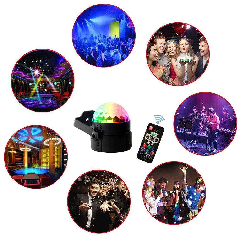 Led Sound Activated Party Lights Disco Ball DJ Strobe Club Lamp 7 Modes Magic Mini Led Stage Lights for Christmas Home Room Dance Parties Birthday DJ Bar Wedding Show Club Pub(3 rd Generation) by AMANEER (Image #2)